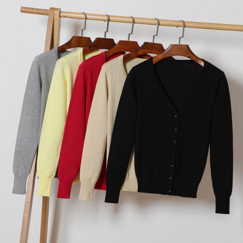 Automne Nouvelles Femmes Tricoté Cardigan Fashon Col V À Manches Longues Solide Casual Pull en tricot Manteau Plus Taille 4XL Femelle Cardigan Manteau