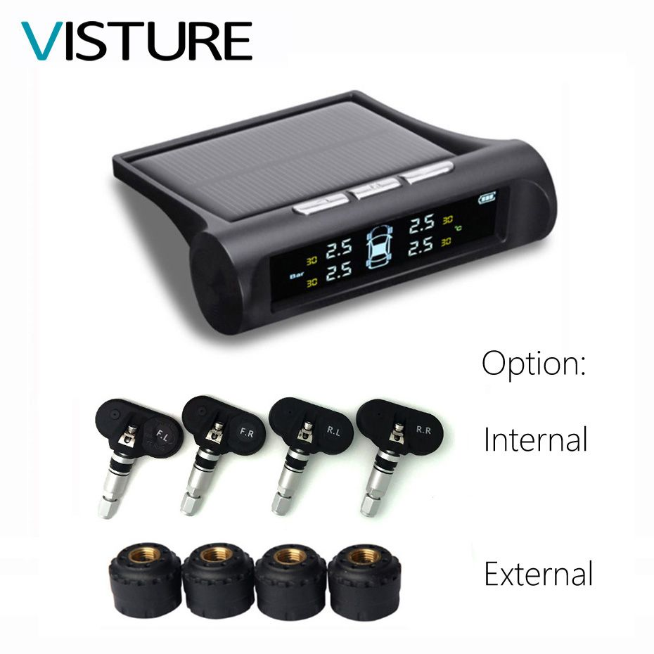 Solar TPMS Car Tire Pressure Alarm Monitor System Display 4 Internal / External Sensor Temperature Warning T01N T01C Visture