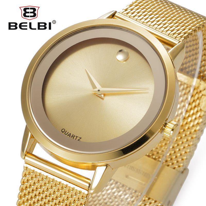 Belbi Top Brand Luxury Women Watch Fashion Steel Alloy Quartz Watches Ladies Gold Simple Style Casual Wristwatch Elegant <font><b>Relojes</b></font>