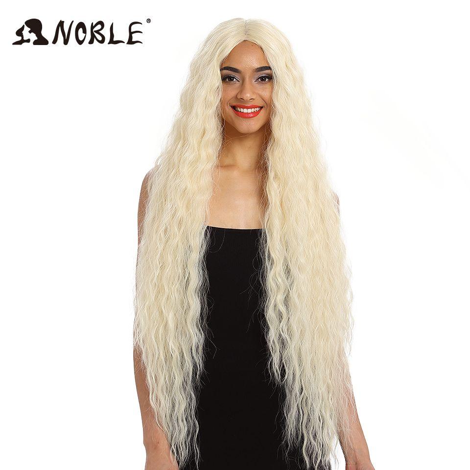 Perruque synthétique cheveux nobles perruque synthétique avant en dentelle perruque longue bouclée Ombre Blonde 42 pouces 613 perruque avant en dentelle synthétique américaine