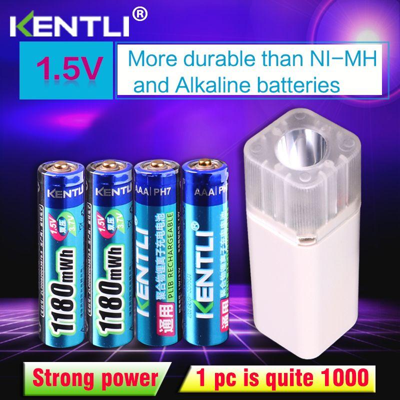 KENTLI 4 pièces 1.5 v 1180mWh AAA batterie au lithium polymère rechargeable + 4 emplacements aa aaa chargeur de batterie au lithium avec lampe de poche
