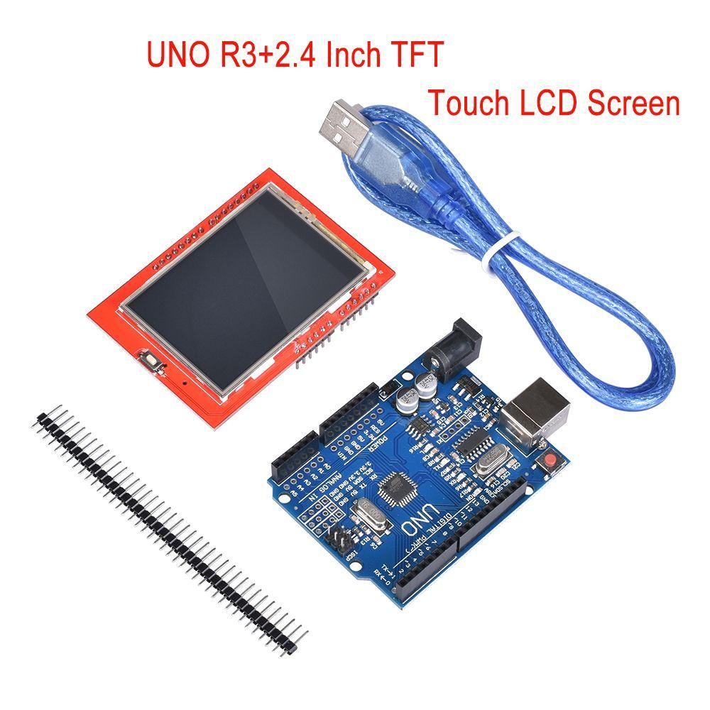 Módulo LCD de 2.4 Pulgadas TFT LCD Módulo de Pantalla Táctil Display + UNO R3 (CH340G) Desarrollo MEGA328P Junta para el kit de impresora 3d