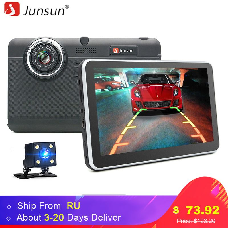 Junsun 7inch Car DVR camera Android GPS Navigation WIFI Bluetooth car video Recorder Registrar <font><b>Full</b></font> HD 1080p Automotive dash cam
