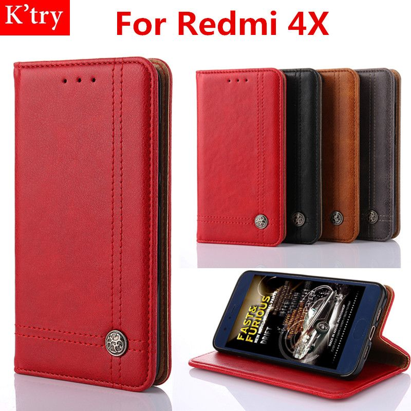 For Xiaomi Redmi 4X Vintage Dirt Resistant Leather Wallet Flip Phone Case For Redmi 4X 5.0 Inch Coqnue