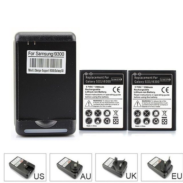 Brand New 2x 2300mAh Replacement Battery For Samsung Galaxy S3 S III i9300 L710 i747 i535 R530 + USB Wall Charger for S3 i9300