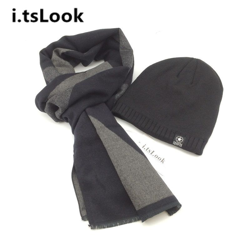 Winter Hat Scarf Sets for men Scarf Luxury Scarves Boy Knitted Beanies Brand 2 pieces sets Warm Scarf Snow Cap Xmas gifts BF-402