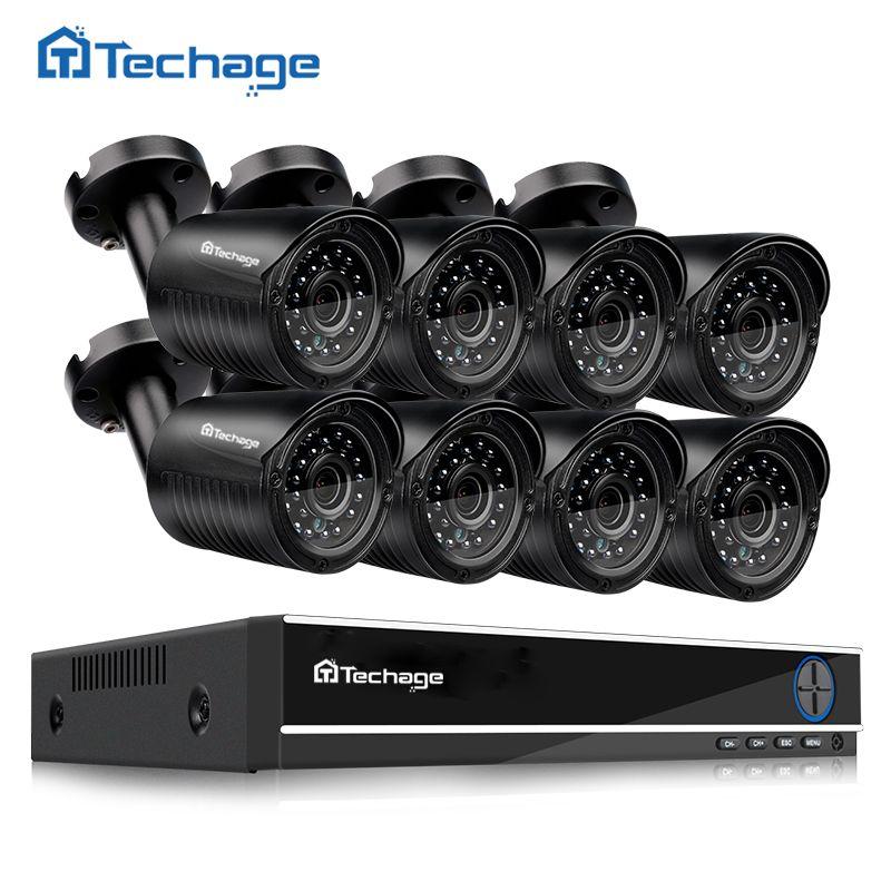 Techage 8CH 720P AHD CCTV System DVR Kit 8PCS 1.0MP 1200TVL IR Outdoor Waterproof AHD Camera Security P2P Video Surveillance Set