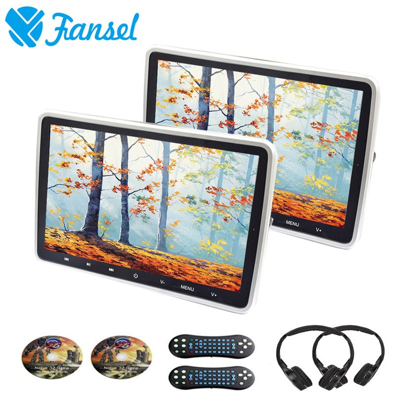 Fansel 2PCS 10.1 Inch Car Headrest DVD Monitor HD Video Player Touch Button TFT LCD Screen USB/SD/HDMI/IR/FM Transmitter/Game