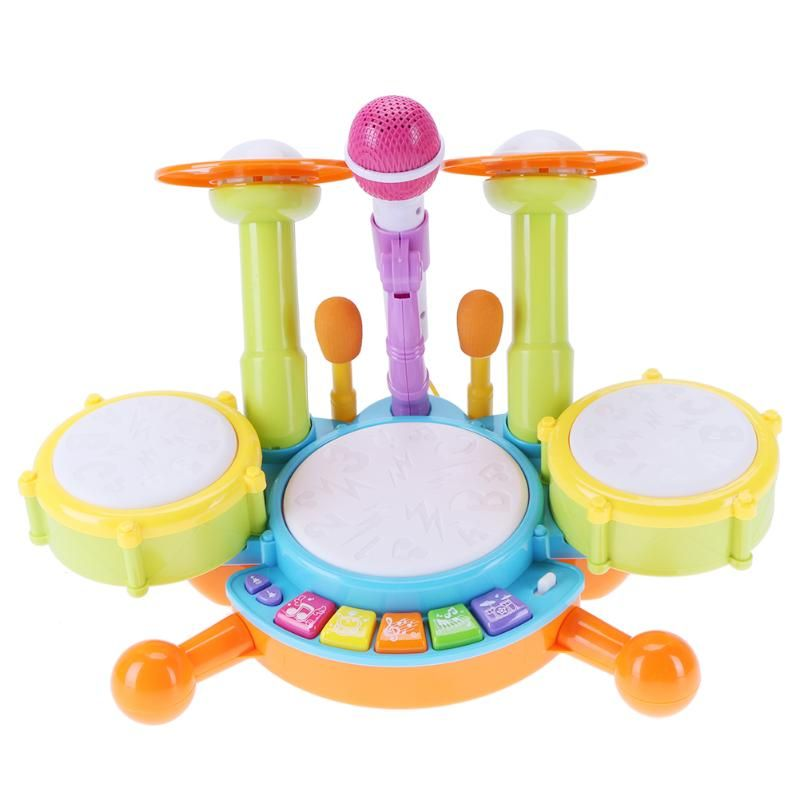 Baby Musical Drum Toy Kids Jazz Drum Kit Electronic Percussion Musical <font><b>Instrument</b></font> Children Educational Toys Gift
