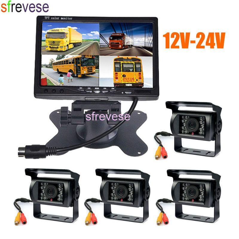 4x 18 IR Night Vision Reversing Parking Backup Camera + 7