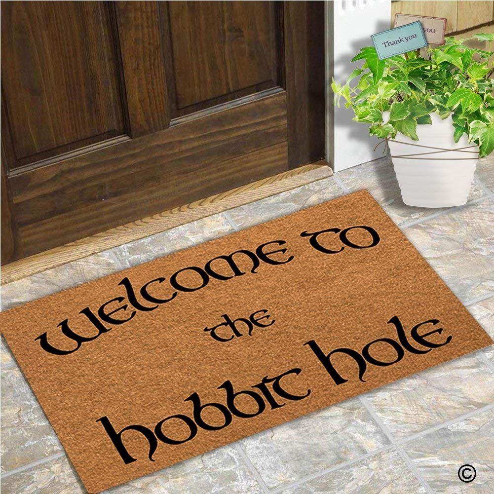 Doormat Entrance Floor Mat Welcome To The Hobbit Hole Mat Indoor Decorative Home and Office Door Mat 23.6 by 15.7 Inch