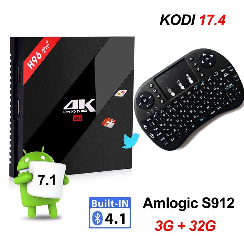 3G 32G Android 7.1 TV Box Amlogic S912 Octa Core 3 GB 16 GB H96 Pro 4 K smart Set Top AC Wifi TVbox Russe Hébreu i8 souris air