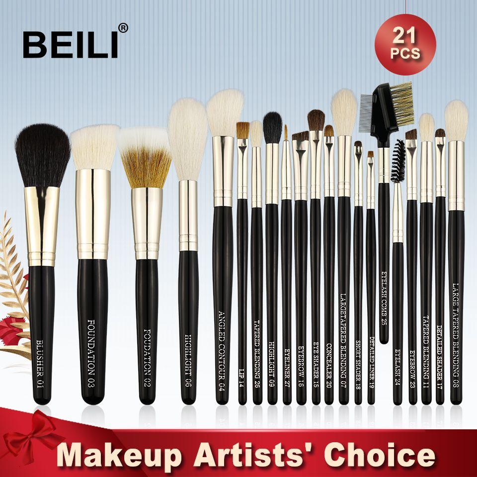 BEILI Wiesel Ziegenhaar Pferd Synthetischen Rouge Powder Foundation lidschatten liner Lip 21 stücke Professionelle Make-Up Pinsel Set