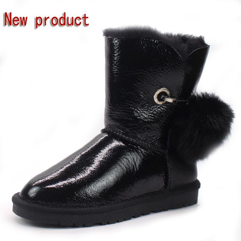 Mitad de precio nuevo invierno 100% botas de nieve de lana de piel de oveja Australiana natural caliente antideslizante botas de mujer en las botas envío gratis