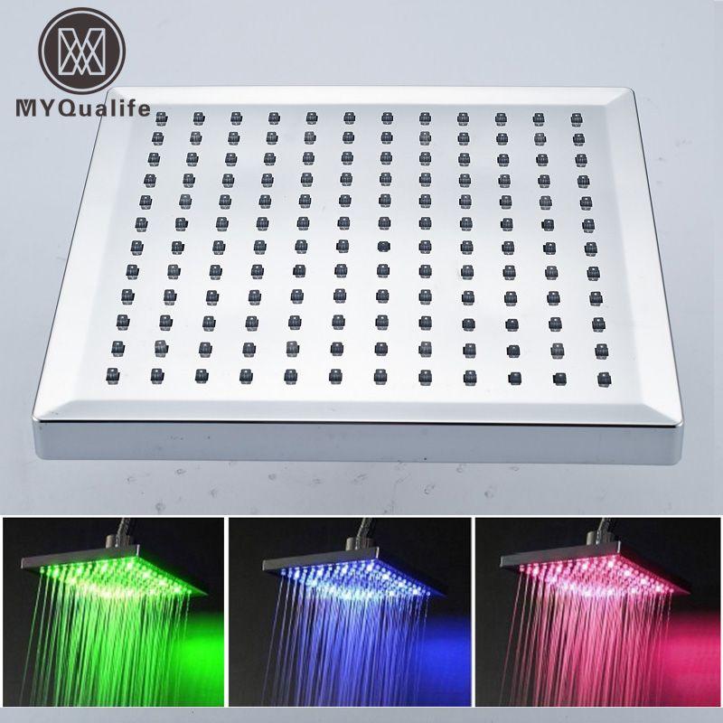 Бесплатная доставка Оптовая продажа и retainl Цвет изменение 8 дюймов осадков площадь LED Насадки для душа хромированной отделкой