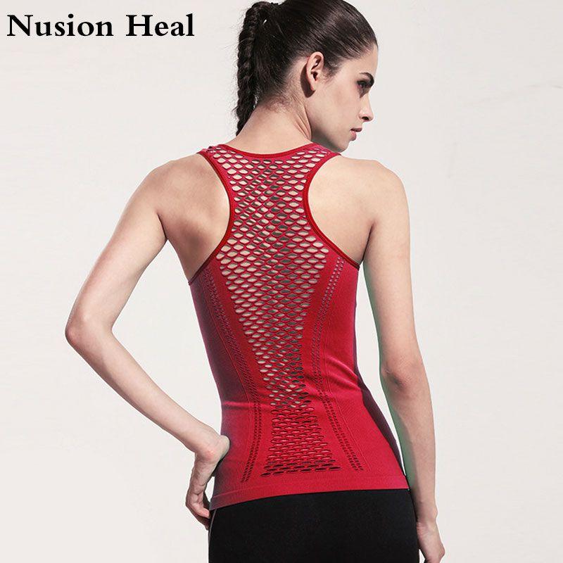 NUSION guérir femmes Yoga chemises maille chemise dames Fitness course t-shirt sans manches femmes dessus de Yoga Gym gilet Fitness Sport chemise