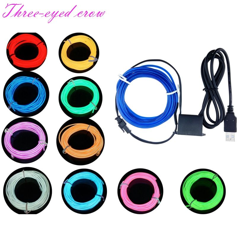 1M 2M 3M 4M 5M 10M Party Decor Flexible Neon Light Glow EL Wire Rope Tape Cable Strip LED Neon Light With USB Controller For Car
