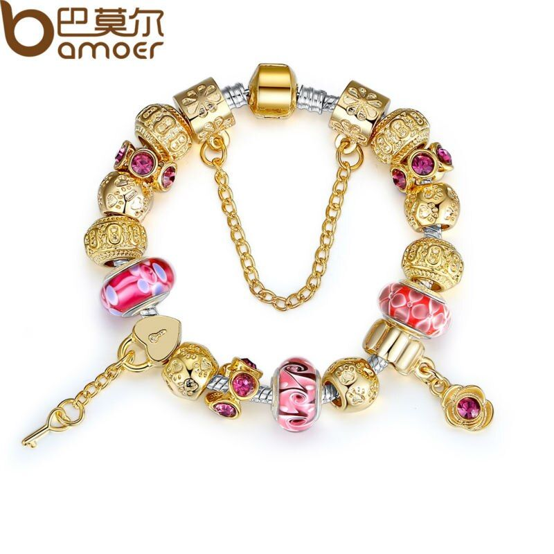 BAMOER High Quality Silver Charm Bracelet for Women With Exquisite Murano Glass Beads DIY Birthday Gift PA1804
