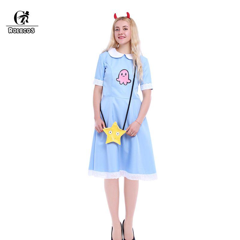 ROLECOS américain Anime Star vs Forces du mal femmes Cosplay Costume princesse étoile papillon bleu longue robe avec sac messager