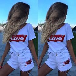 Plus la Taille S-XL De Mode D'été T Shirt Femmes Amour Imprimé T-shirt Femmes Tops T-shirt Femme Nouveautés Chemises Sport