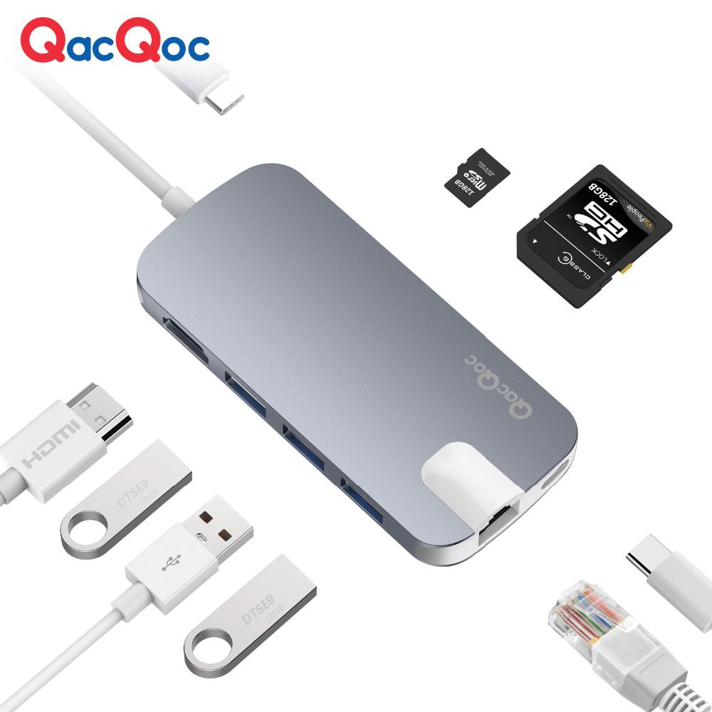 QacQoc GN30H Aluminium USB C Hub with 4K HDMI Card Reader 3 USB 3.0 Port RJ45 Port Type-C Power delivery for Macbook/pro adapter