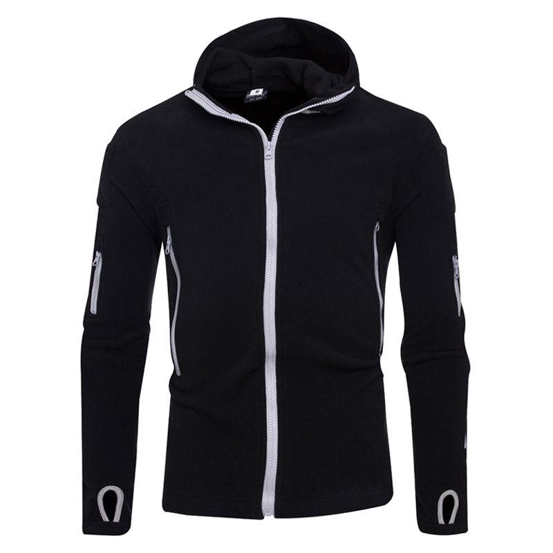 Для мужчин S Толстовки толстовка новый Мода 2017 г. брендовая Толстовка Solid Толстовки Для мужчин модные на молнии мужской костюм с капюшоном Дл...