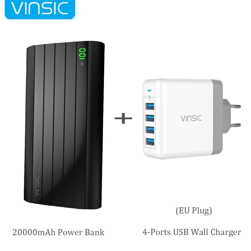 Vinsic IRON P6 20000mAh Power Bank External Battery Charger 2.4A Dual USB+ Four Port USB Wall Charger for iPhone X Samsung S9