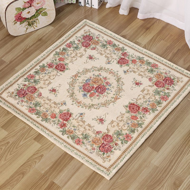 HUAMAO 90*90cm Europe Pastoral Jacquard Carpets For Living Room Compute Chair Floor Mat Cloakroom Area Rug Bedroom Rugs