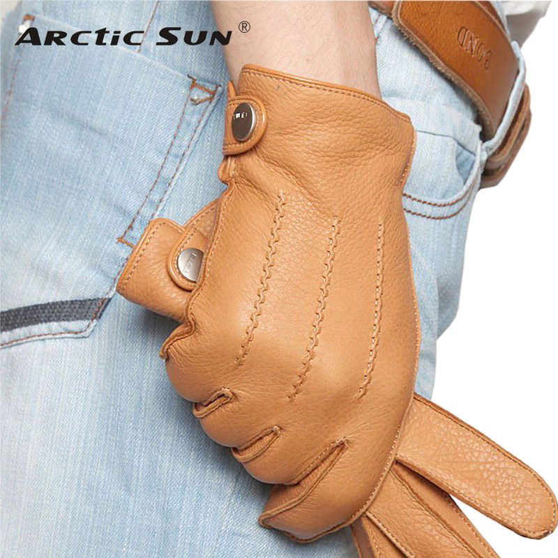Fashion 2018 Luxury Men Deerskin Gloves Button Wrist Solid Genuine Leather Male Winter Driving Glove Free Shipping Em012wr