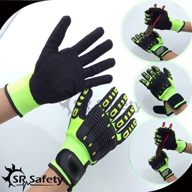 SRSafety 1 Para Anti Vibration Arbeitshandschuhe Vibration und Schock Handschuhe Anti Auswirkungen Mechanik WorkGloves, Cut Level 5