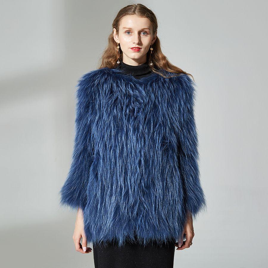 Natural Real Fox Fur Coat medium- long Luxurious Comfortable Soft raccon dog Fur Knitted Real Fur Coat raccoon dog fur Jacket