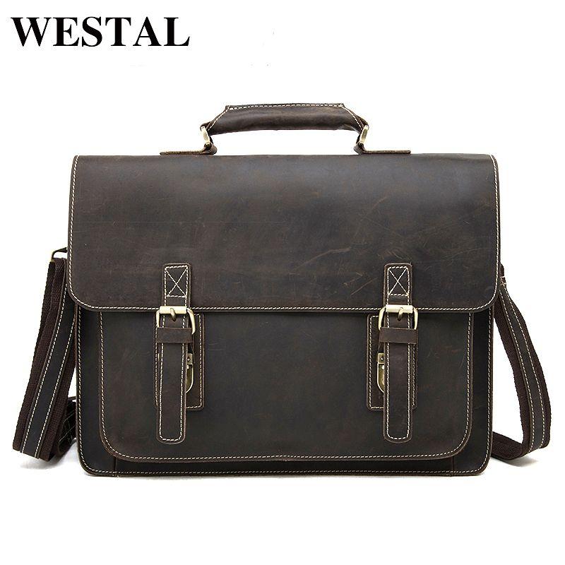 WESTAL Vintage Crazy Horse Echtes Leder Tasche anwalt Männer Aktentaschen Männlichen Schulter Laptop Tasche für dokument Handtaschen Totes 1081