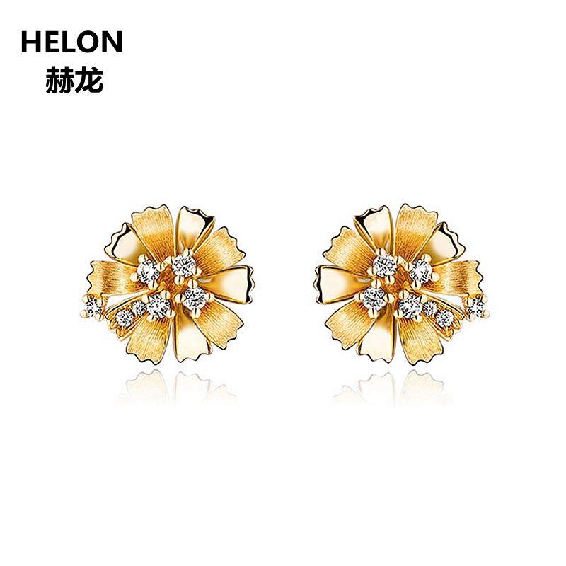 Natürliche Diamanten Stud Ohrringe Solide 14 karat Gelb Gold Frauen Ohrringe Blume Edlen Schmuck