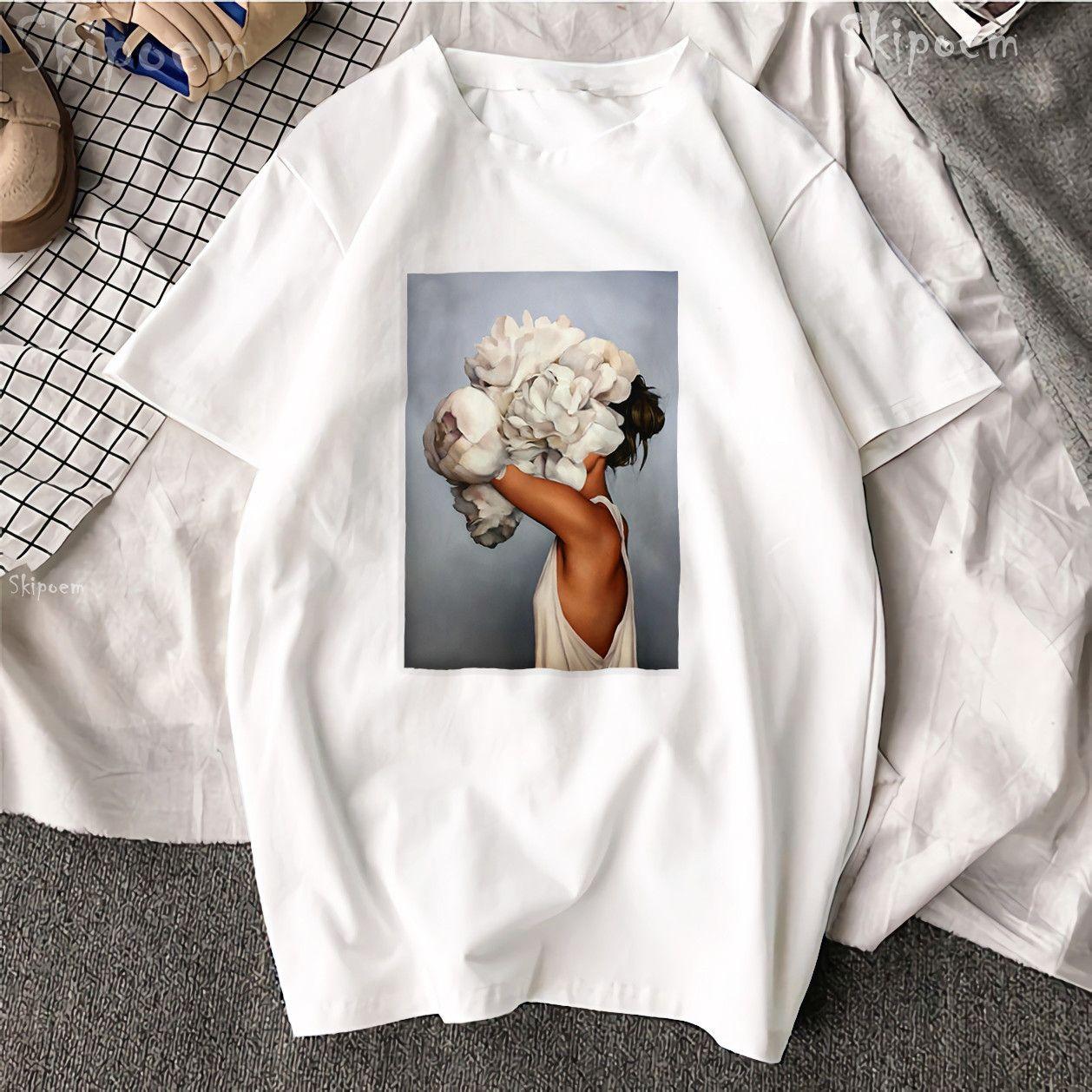 Nouveau coton Harajuku esthétique t-shirt Sexy fleurs plume imprimé à manches courtes hauts et t-shirts mode décontracté Couple t-shirt
