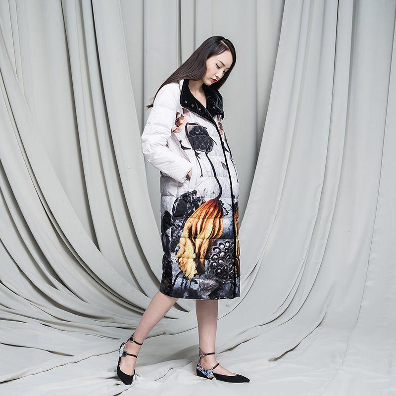 2016 Winter Jacke Frauen unten jacken tinte muster vintage chinesischen stil oberbekleidung samt unten mantel frauen mäntel lange design