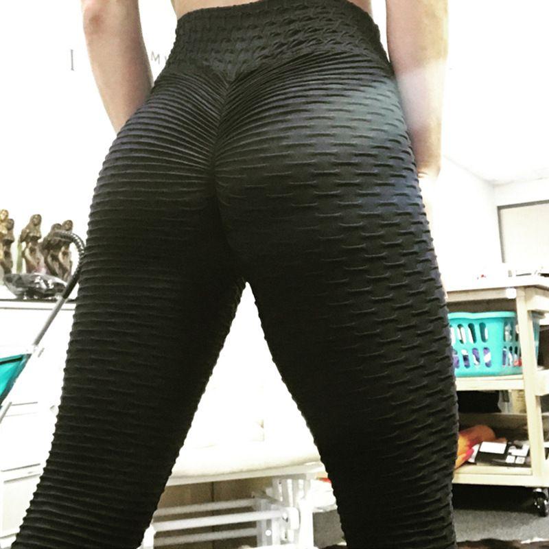 NORMOV Leggings de Fitness femmes Polyester cheville-longueur Standard pli pantalon élasticité Slim Push Up femme plusieurs couleurs Legging