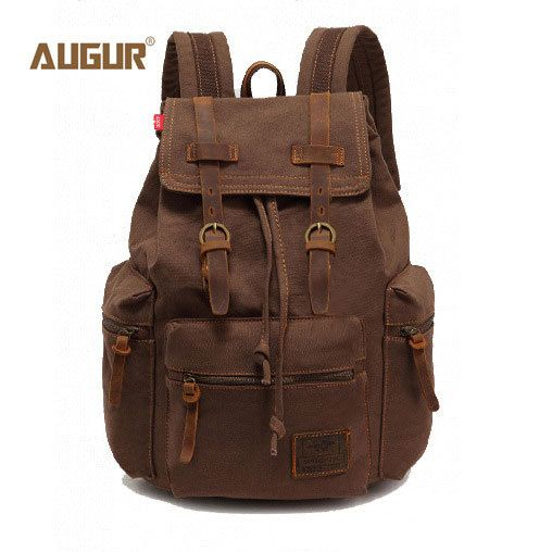 2017 AUGUR New fashion men's backpack vintage canvas backpack school bag men's travel bags large capacity travel backpack bag