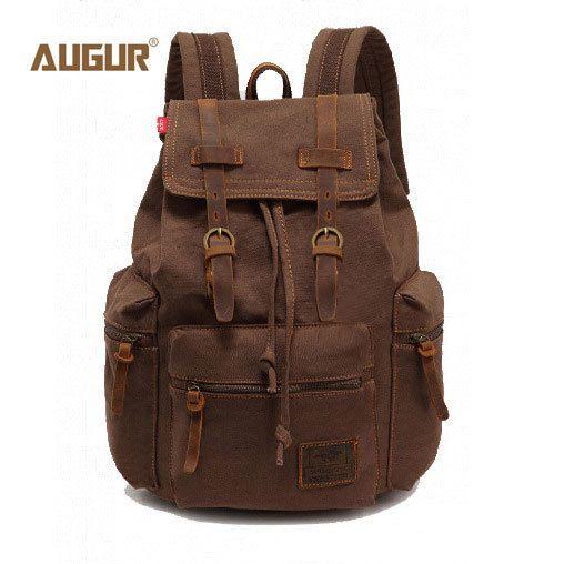 2017 AUGUR New fashion men's backpack vintage canvas backpack school bag men's travel bags large capacity travel backpack bag