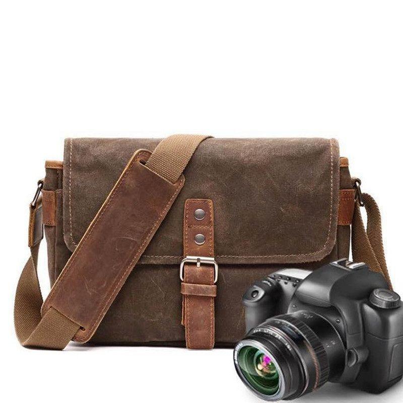 YUPINXUAN Mens Vintage Oil Wax Canvas Leather Shoulder Bags Shockproof DSLR Camera Bag Waterproof Canvas Crossbody Bags Russian