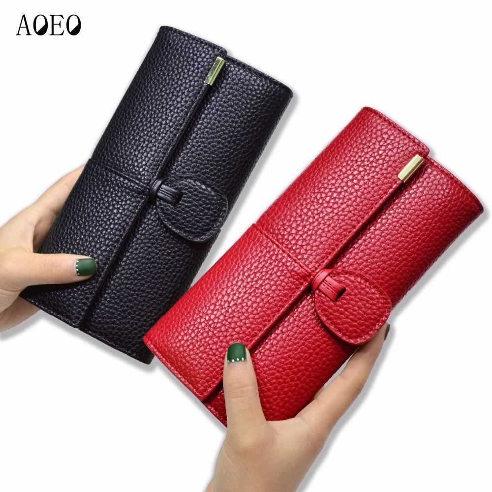 AOEO Card Holder Wallet Female Day <font><b>Clutches</b></font> Casual Quality PU Leather Hasp Luxury Women Portfolio Money Cash Bags Ladies Purse