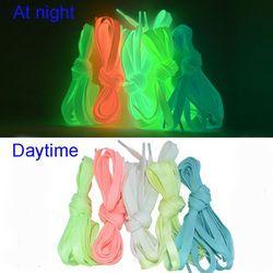 1 пара 120 см Спортивные Светящиеся шнурки светится в темноте ночной цвет флуоресцентная спортивная обувь на шнуровке плоские шнурки обуви х...