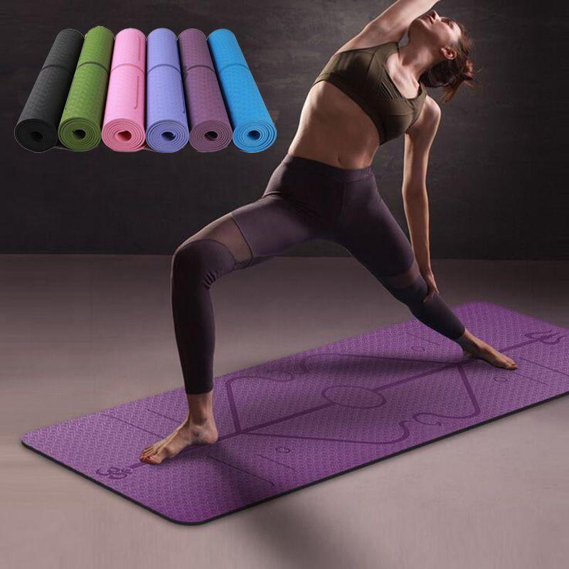 Tapis de Yoga TPE 1830*610*6mm avec ligne de Position tapis antidérapant pour débutant tapis de gymnastique de Fitness environnemental