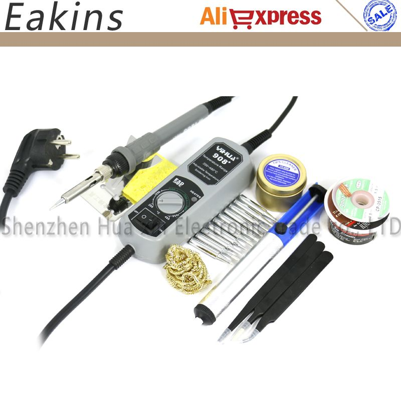 YIHUA 908+ Mini Pocket Welding repair Soldering Station Adjustable Electric soldering iron+10 pc Tips+3 pc Tweezers+tin wire