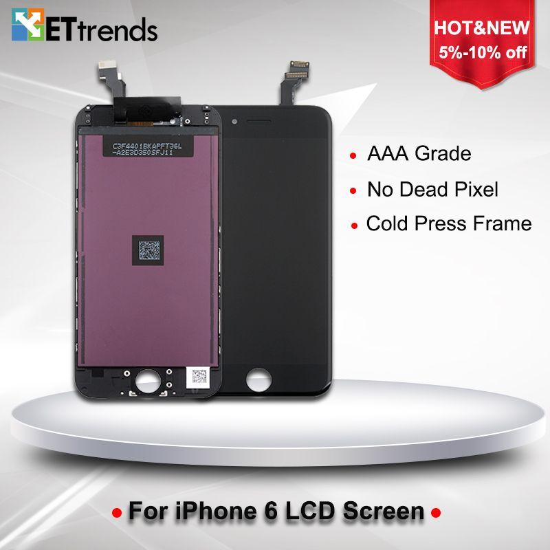10 PCS/LOT PAS de Dead pixel LCD Affichage Pour iPhone 6 LCD Écran tactile Digitizer Écran avec Froid Presse Cadre Assemblée DHL Libèrent Le Bateau