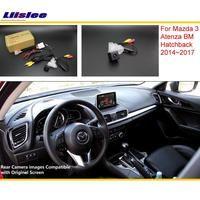 Liislee для Mazda 3 Mazda3 BM хэтчбек 2014 ~ 2017 RCA и оригинальный Экран Совместимость заднего вида Камера/назад обратный Камера комплекты