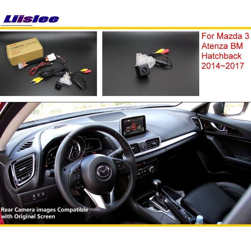 Liislee Pour Mazda 3 Mazda3 BM Hayon 2014 ~ 2017 RCA et Original Écran Compatible Caméra de Vue Arrière/Arrière caméra de recul Ensembles