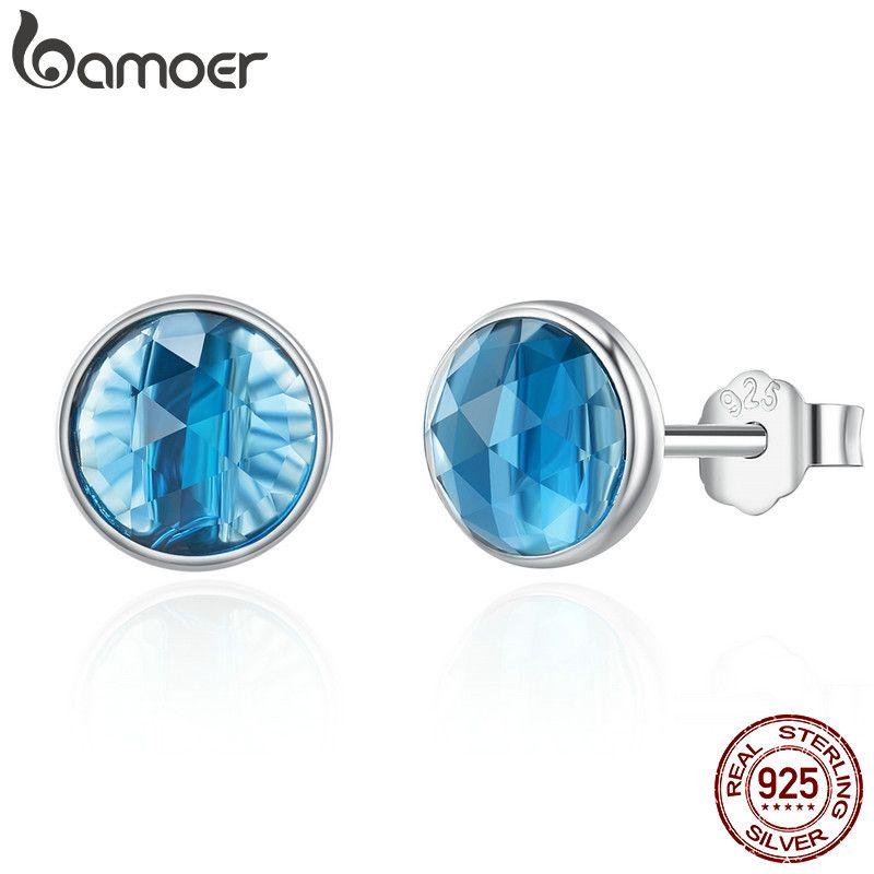 BAMOER Echtem 925 Sterling Silber Dezember Tröpfchen London Blau Kristall Stud Ohrringe für Frauen Sterling Silber Schmuck PAS527