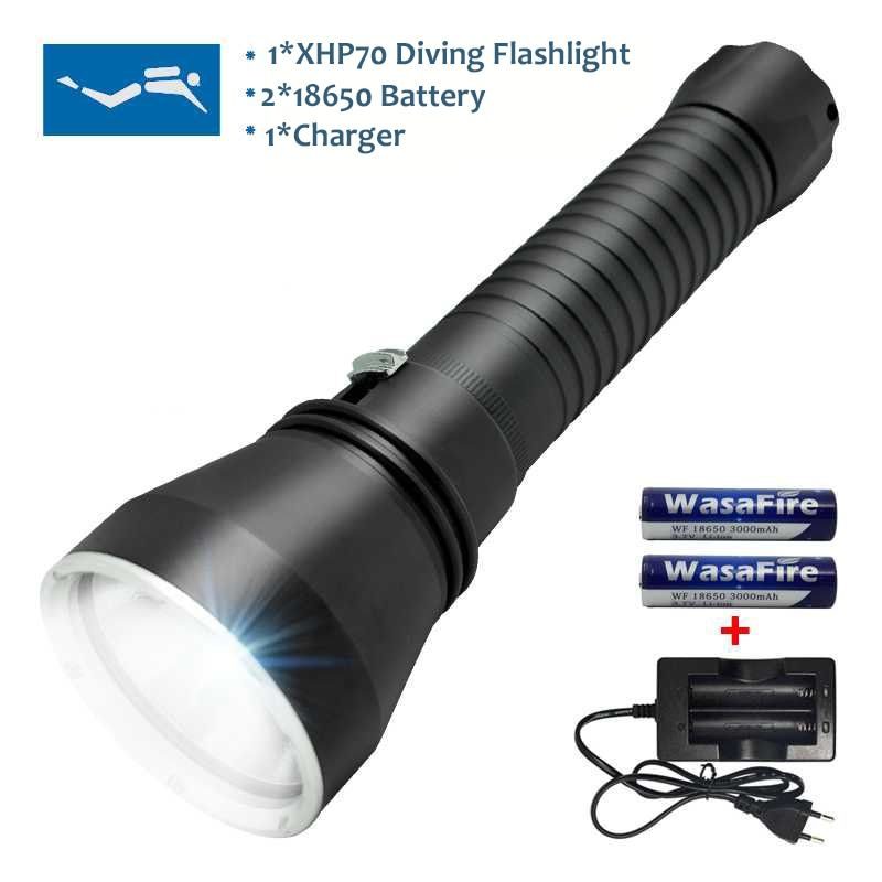 Dive 130m Powerful Light XHP70 LED Scuba Diving Flashlight 5000 Lumen Flashlight For Underwater Hunting Lamp + Battery + Charger