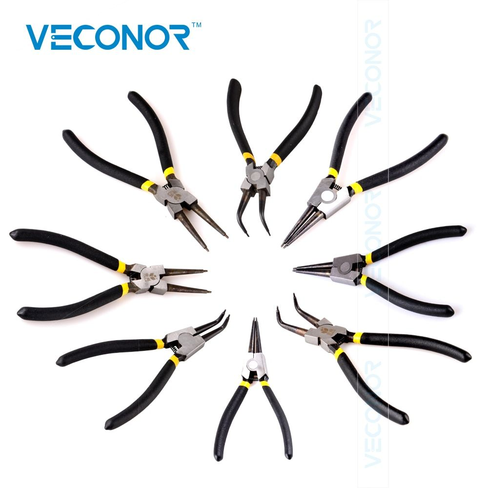 Veconor 6 дюймов клещи внутренних и внешних Изогнутые Прямой Совет плоскогубцы кольцо стопорное кольцо плоскогубцы механические инструменты