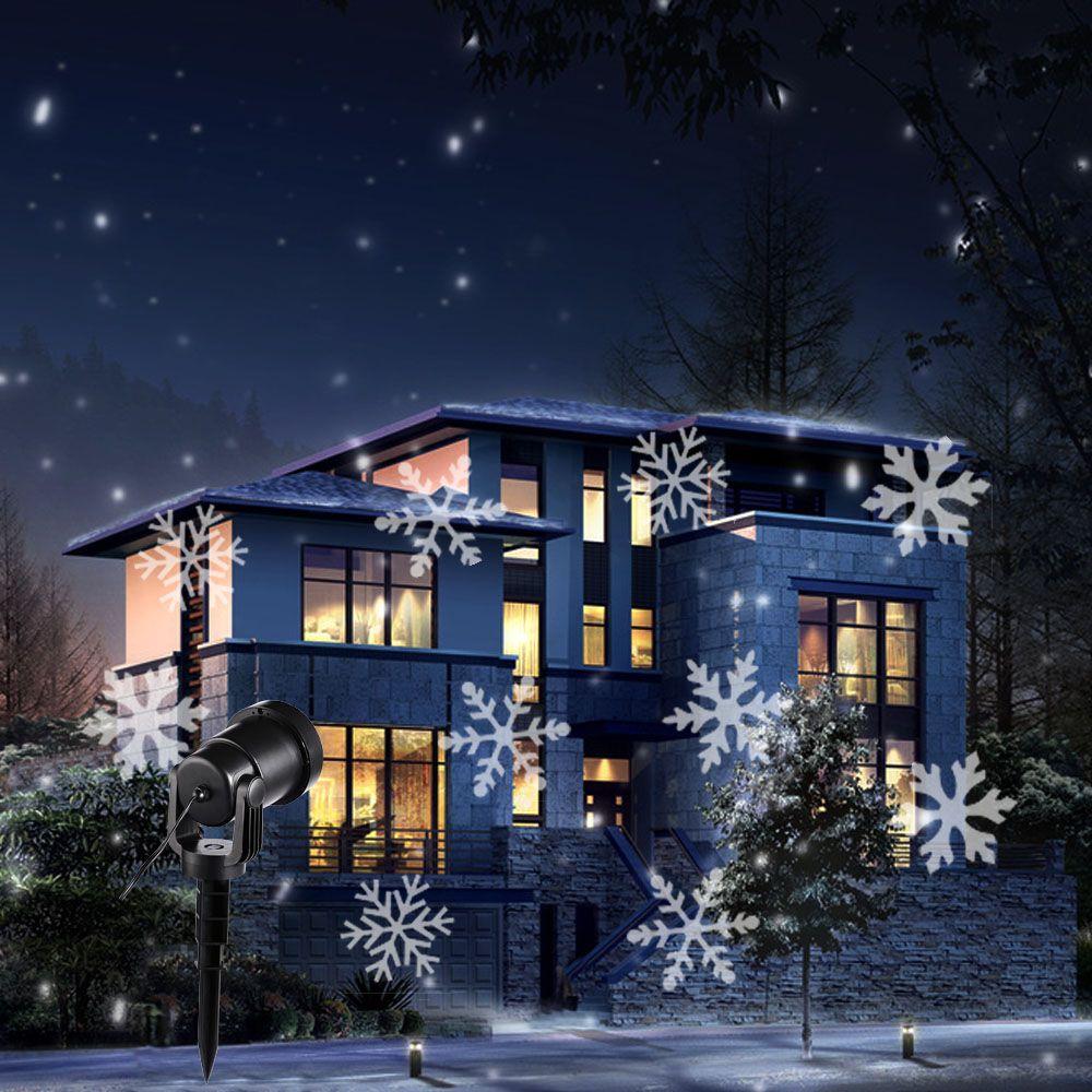 Año nuevo navidad proyector de luz al aire libre lámparas de nieve de la navidad del copo de nieve led lámpara paisaje jardín de la luz luz de la etapa para el partido